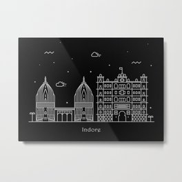 Indore Minimal Nightscape / Skyline Drawing Metal Print