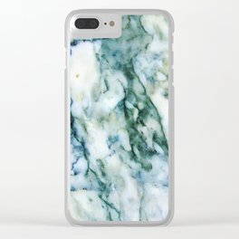 Modern Faux Marble Gray & Blue-green Tones Clear iPhone Case