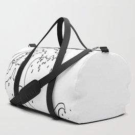 Minimal Line Art Ocean Waves Duffle Bag