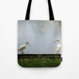 A Lakeside Chat Tote Bag