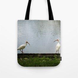 A Lakeside Chat Tote Bag