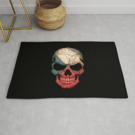 Dark Skull with Flag of Czech Republic Rug