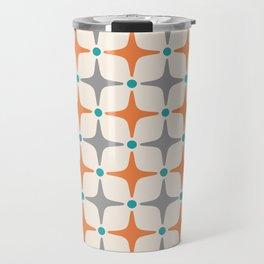 Mid Century Modern Star Pattern Grey and Orange Travel Mug