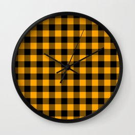 Crisp Orange and Black Lumberjack Buffalo Plaid Fabric Wall Clock