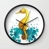 sea horse Wall Clocks featuring Sea Horse by Lore Illustration