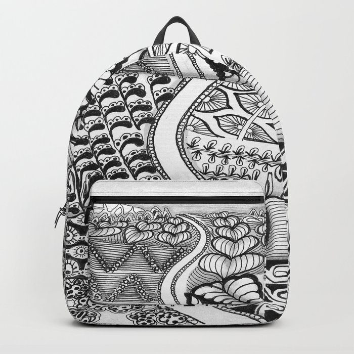 Zentangle Fields of Dream Black and White Adult Coloring Illustration Backpack