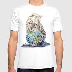 In which our feline deity shows restraint  White MEDIUM Mens Fitted Tee