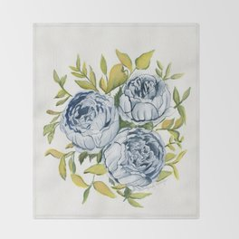 Blue Flowers Watercolor Decke