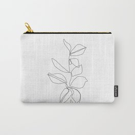 One line minimal plant leaves drawing - Birdie Carry-All Pouch