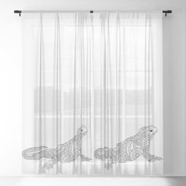 black and white zen tangled patterned iguana Sheer Curtain