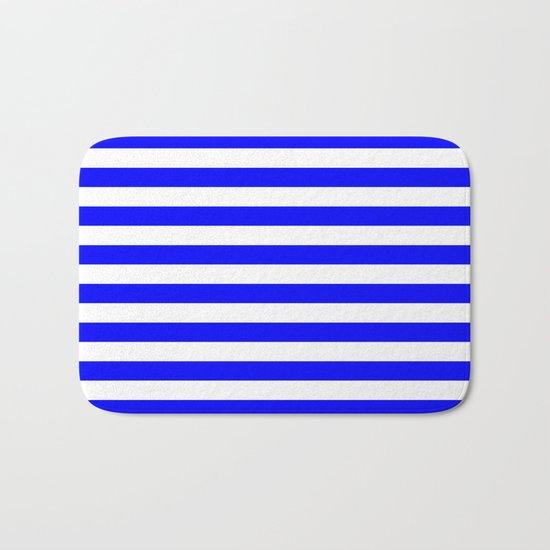 Horizontal Stripes (Blue/White) Bath Mat