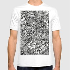 Peony Fascination LARGE White Mens Fitted Tee