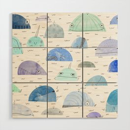 Whale party Wood Wall Art