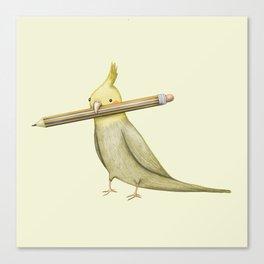 Cockatiel & Pencil Canvas Print