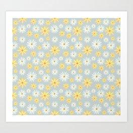 Watercolour Daisies Pattern   Grey Art Print
