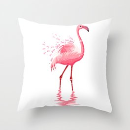Pink Flamingo Pink Ribbon Throw Pillow