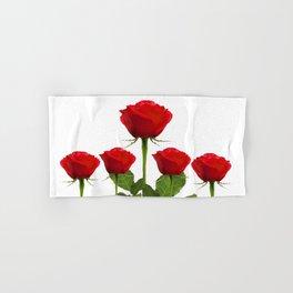 ORIGINAL GARDEN DESIGN OF RED ROSES ON WHITE Hand & Bath Towel