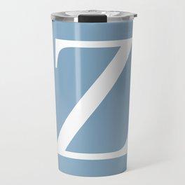 Letter Z sign on placid blue background Travel Mug