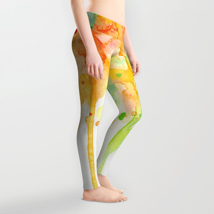 Rainbow Watercolor Pattern Texture Leggings