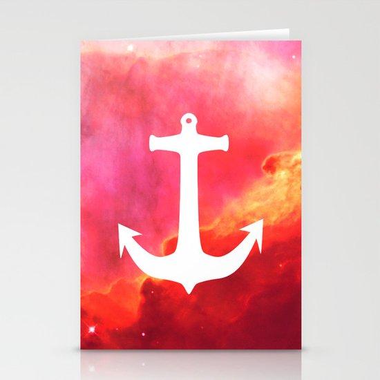 Galaxy Nebula Pink Retro White Nautical Anchor Stationery Cards