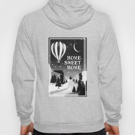 Hot Air Balloon Home Sweet Home snowy little town night stars and moon home decor Christmas spirit Hoody