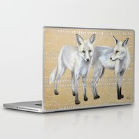 foxes Laptop & iPad Skins featuring foxes by Ashley White Jacobsen