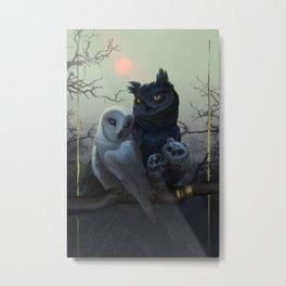 Owl Family Portrait Metal Print