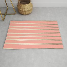 Simply Drawn Stripes in White Gold Sands and Salmon Pink Rug