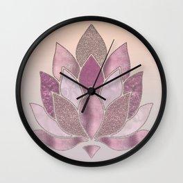 Elegant Glamorous Pink Rose Gold Lotus Flower Wall Clock