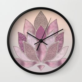 Elegant Glamorous Pink Rose Gold Lotus Flower Wall Clock