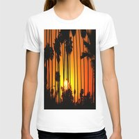 striped T-shirts featuring Striped Sunset by Flattering Images