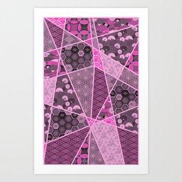 Pink Mixed Pattern Art Print
