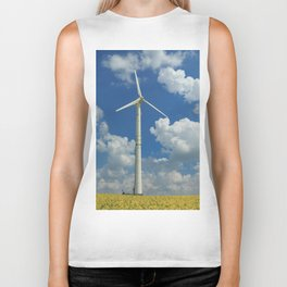 Wind Turbine Windmill in the Landscape with Yellow Colza Field and Blue Sky Biker Tank