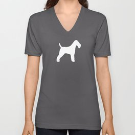 White Wire Fox Terrier Silhouette(s) Unisex V-Neck