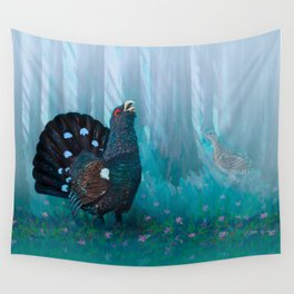 Capercaillie lek in spring Wall Tapestry