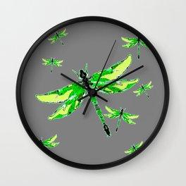 EMERALD GREEN  SWAMP DRAGONFLIES GREY ART Wall Clock