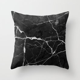 Black Suede Marble With White Lightning Veins Throw Pillow