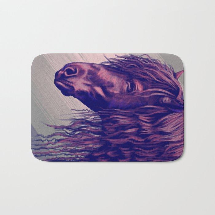 Purple horse portrait Bath Mat