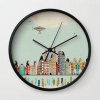minneapolis Wall Clocks featuring visit minneapolis minnesota by bri.buckley