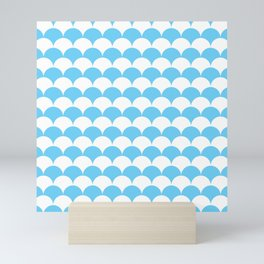 Light Blue Fan Shell Pattern Mini Art Print