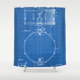 Snare Drum Patent - Drummer Art - Blueprint Shower Curtain