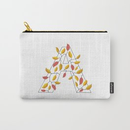 Capital Letter A with Autumn Leaves Carry-All Pouch