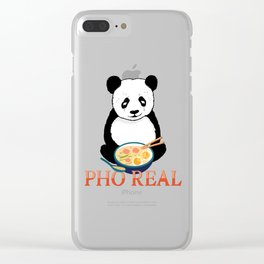 Pho Real Cute Panda Ramen Noodle Bowl graphic Clear iPhone Case