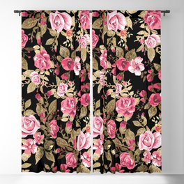 Elegant spring floral gold pattern Blackout Curtain