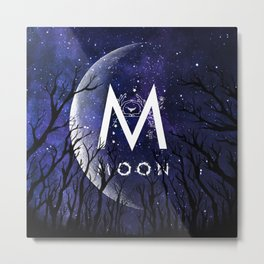 Starry Night and Moon #6: Moon Metal Print