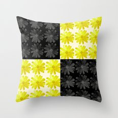 Colorblocked Flowers (Black and Yellow) Throw Pillow