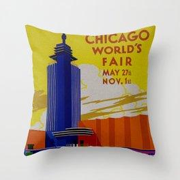 Vintage Chicago World's Fair 1933 Throw Pillow