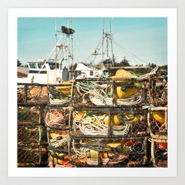 Crab Pot Photograph, Ilwaco Washington Harbor, Northwest Fisherman Boat Photo, Crabber, Seafood Art Print