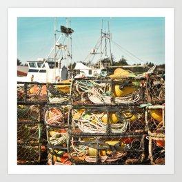 Crab Pot Photograph, Ilwaco Washington Harbor, Northwest Fisherman Boat Photo, Crabber, Seafood Art Print