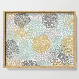 Floral Abstract Print, Yellow, Gray, Aqua Serving Tray